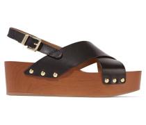 Bentlee Wood-trimmed Leather Sandals Schwarz