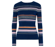Striped Ribbed Merino Wool-blend Top