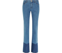 Two-tone Mid-rise Flared Jeans Mittelblauer Denim