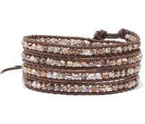 Leather And Silver-tone Multi-stone Wrap Bracelet