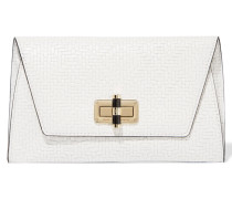 Gallery Uptown Woven Leather Clutch Weiß