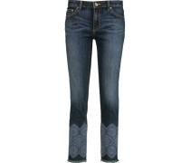 Edith Embroidered High-rise Straight-leg Jeans Dunkler Denim