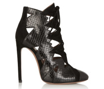 Cutout Python And Suede Ankle Boots Schwarz