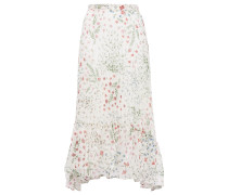 Noora Asymmetric Fil Coupé Printed Crepe Midi Skirt