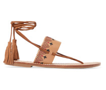 Tasseled Embroidered Leather Sandals Braun