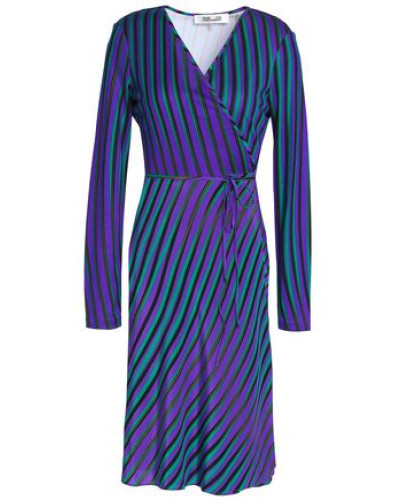 Printed Silk Wrap Dress Violet Size 0