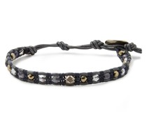 Sterling Silver, Leather And Multi-stone Wrap Bracelet