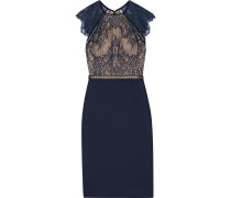 Noella Crochet-trimmed Lace And Ponte Dress