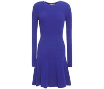 Fluted Ribbed-knit Mini Dress