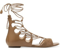 Leather and suede lace-up sandals
