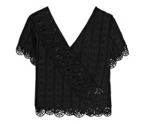 Wrap-effect broderie anglaise cotton top