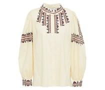 Bluse aus Baumwoll-jacquard mit Stickereien