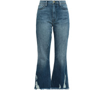 Le Crop Distressed High-rise Kick-flare Jeans