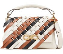 Rope Bow Woven Leather Shoulder Bag