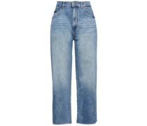 Marley Hoch Sitzende Cropped Jeans mit Weitem Bein und Fransen