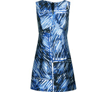 Printed Satin-twill Mini Dress Blau