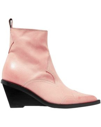 Woman Nubuck Wedge Ankle Boots Pastel Pink