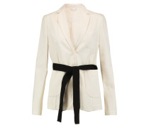 Belted Cotton-faille Blazer Creme