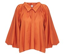 Geraffte Bluse aus Satin aus Einer Lyocell-baumwollmischung
