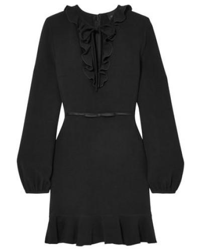 Ruffled Crepe Mini Dress Black