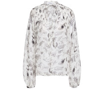 Woman Pintucked Printed Silk-georgette Blouse Off-white