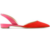 Rhea Two-tone Suede And Leather Slingback Point-toe Flats Tomato Red