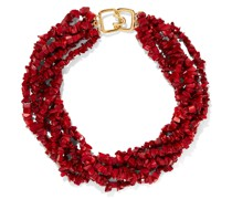 Gold-tone Beaded Resin Necklace