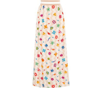 Pleated printed silk-blend maxi skirt