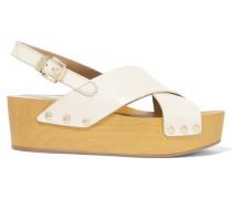 Bentlee Leather Wedge Sandals Elfenbein