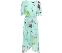 Wrap-effect Floral-print Crepon Midi Dress