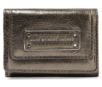Metallic Leather Wallet Stahlgrau