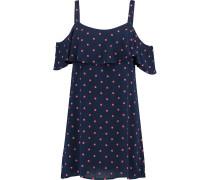 Cold-shoulder Polka-dot Crepe Mini Dress Navy