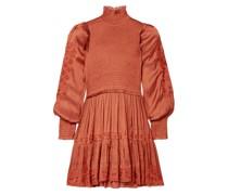 Angelica Shirred Embroidered Satin Mini Dress