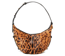 Woman William Leather-trimmed Leopard-print Calf Hair Shoulder Bag Animal Print