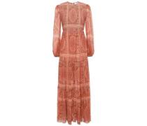 Primrose Shirred Printed Cotton And Silk-blend Maxi Dress Light Brown Size 0
