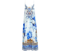 Layered Printed Silk Crepe De Chine And Chiffon Maxi Slip Dress