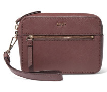 Textured-leather Box Clutch Merlot