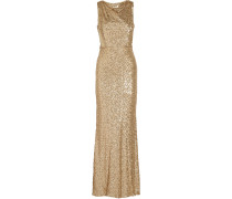 Draped Sequined Tulle Gown Gold