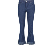 Mid-rise cropped fringed bootcut jeans
