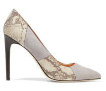Paneled Suede And Snake-effect Leather Pumps Grau