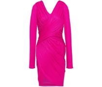 Wrap-effect Ruched Metallic Ribbed-knit Mini Dress