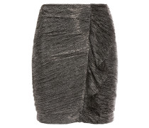 Ruffle-trimmed Ruched Lamé Mini Skirt