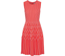 Pleated Striped Intarsia-knit Dress