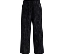 Elba Cropped Metallic Plissé Stretch-velvet Wide-leg Pants
