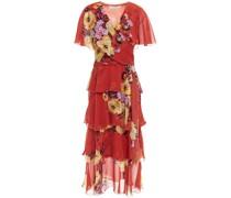 Tiered Embellished Floral-print Silk-chiffon Midi Dress