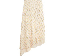 Asymmetric metallic fil coupé silk-blend midi skirt
