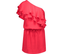 One-shoulder Ruffled Silk Mini Dress Rot
