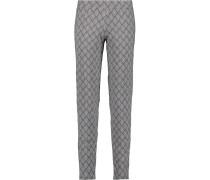 Printed Stretch-jersey Pajama Pants Anthrazit