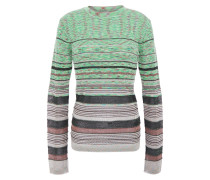 Pointelle-trimmed Metallic Wool-blend Sweater