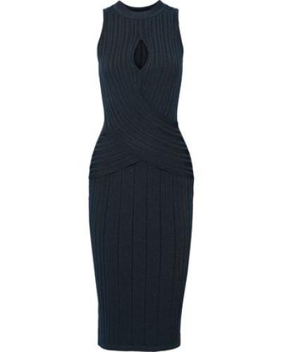 Cutout Ribbed-knit Dress Petrol